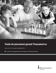 Fonds de placement garanti Transamerica cahier de renseignements