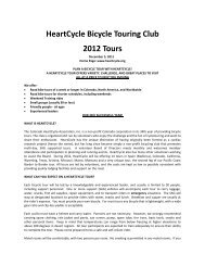 HeartCycle Bicycle Touring Club 2012 Tours - Colorado HeartCycle