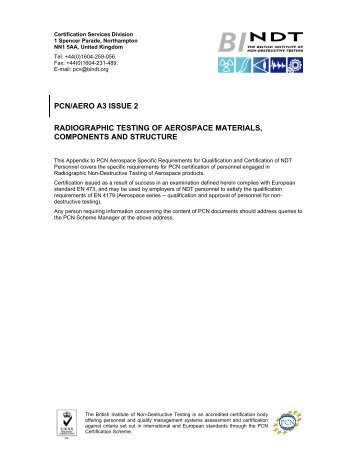 pcn/aero a3 issue 2 radiographic testing of aerospace ... - BINDT