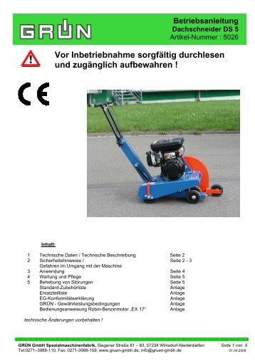Betriebsanleitung Dachschneider DS 5 - firma-gruen