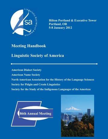 Annual Meeting Handbook - Linguistic Society of America