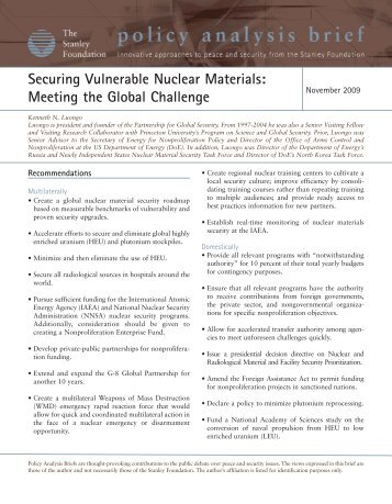 Securing Vulnerable Nuclear Materials: Meeting the Global Challenge