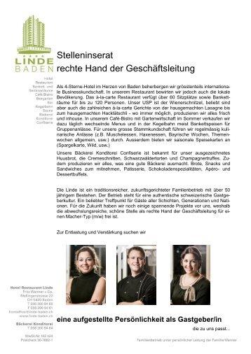 Stelleninserat rechte Hand der Geschäftsleitung - Hotel Linde