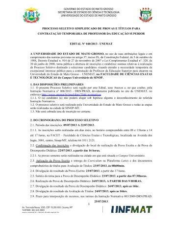 Edital nº 040/2013 - Unemat
