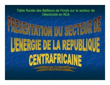 Le secteur de l'électricité en RCA - RIAED