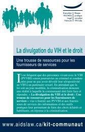 La divulgation du VIH et le droit - Réseau juridique canadien VIH/sida