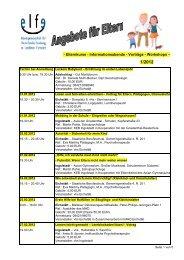- Elternkurse - Informationsabende - Vorträge - Workshops –