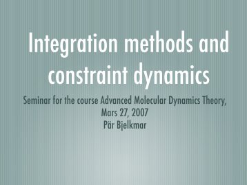 Integration methods and constrains
