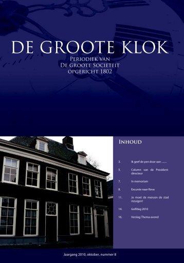de Groote Klok - oktober 2010 - de Groote Sociëteit Zwolle