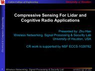 Compressive Sensing For Lidar and Cognitive Radio Applications