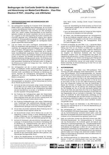 Bedingungen der ConCardis GmbH für die Akzeptanz und ...