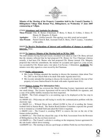 Minutes of the Meeting of the Property Committee held in the ...