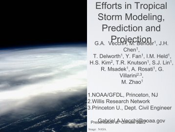 Efforts in Tropical Storm Modeling, Prediction and Projection