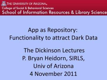 View Heidorn PowerPoint (.pdf) - School of Information Resources ...