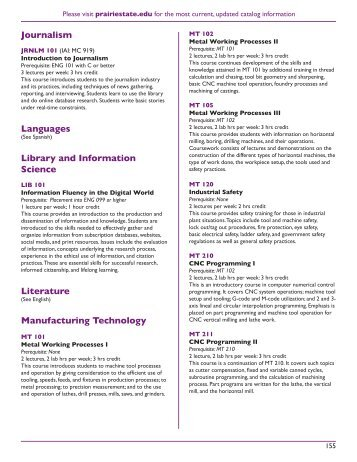 course descriptions - Prairie State College