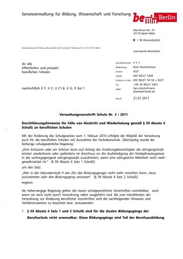 Verwaltungsvorschrift Schule Nr. 3/2011 - OSZ Farbtechnik und ...