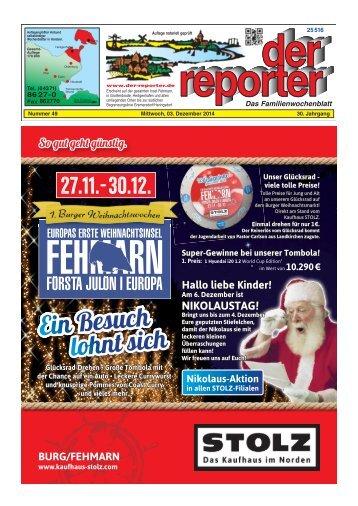 der reporter - Das Familienwochenblatt für Fehmarn 2014 KW 49