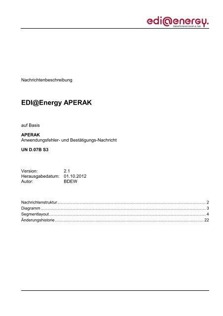 EDI@Energy APERAK - Edi-energy.de