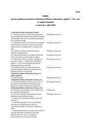 TARIFE pentru publicarea actelor în Monitorul Oficial al României ...