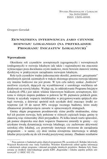 Zewnętrzna interwencja jako czynnik rozwoju lokalnego - Studia ...