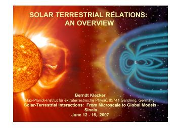 SOLAR TERRESTRIAL RELATIONS: AN OVERVIEW - GPSM