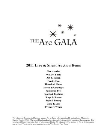 2011 Live & Silent Auction Items - Arc Greater Twin Cities