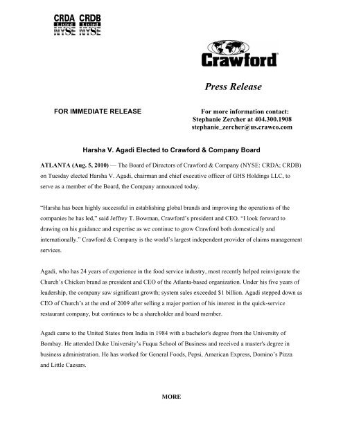 Harsha V  Agadi Elected to Crawford & Company Board