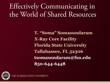 Effective Communications in the world of Cores - Florida State ...