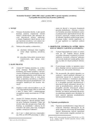 Komunikat Komisji C (2003) 4582 z dnia 1 grudnia 2003 w sprawie ...