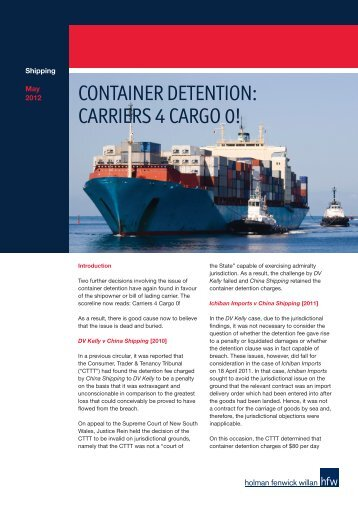 CONTAINER DETENTION: CARRIERS 4 CARGO 0! - HFW
