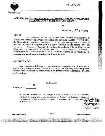 Resolución Proveedores Inscritos Enero 2006 - Chileproveedores