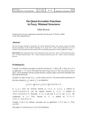 On Quasi-Irresolute Functions in Fuzzy Minimal Structures - BMIF