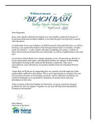 Dear Supporter, Since 1991, Beaches Habitat has helped over 260 ...