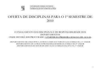 OFERTA DE DISCIPLINAS PARA O 1º SEMESTRE DE 2010 - Letras