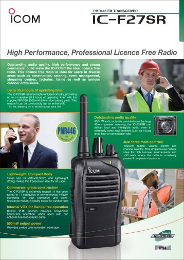 High Performance, Professional Licence Free Radio - VHF Group AS