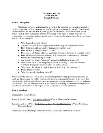 Psychology and Law PSYC 601 001 Sample Syllabus Course ...