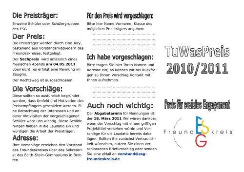 Ausschreibung - Freundeskreis des Edith-Stein-Gymnasiums in ...