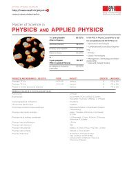 PHYSICS AND APPLIED PHYSICS - Master | EPFL