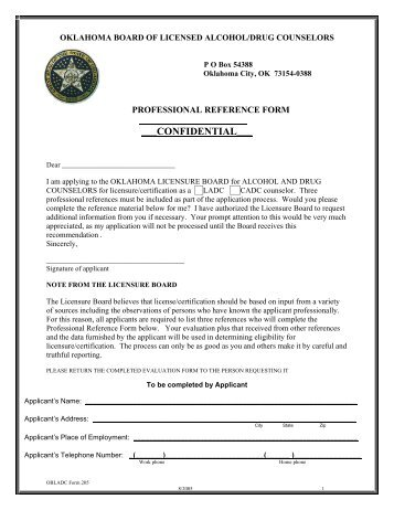 Form 205 Professional Reference - Oklahoma Board of Licensed ...