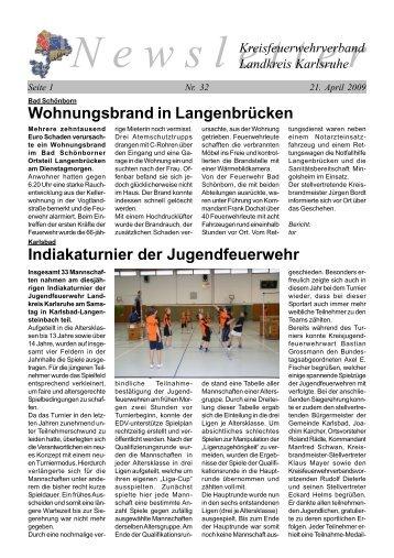 Wohnungsbrand in Langenbrücken - Freiwillige Feuerwehr ...