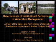 determinants of institutional performance in watershed management