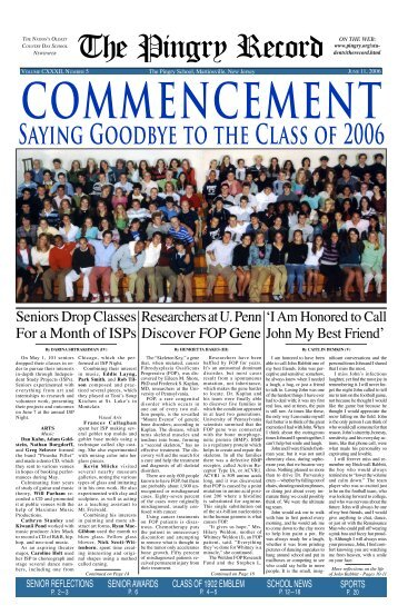 Commencement - saying goodbye to the class of 2006 - Pingry School