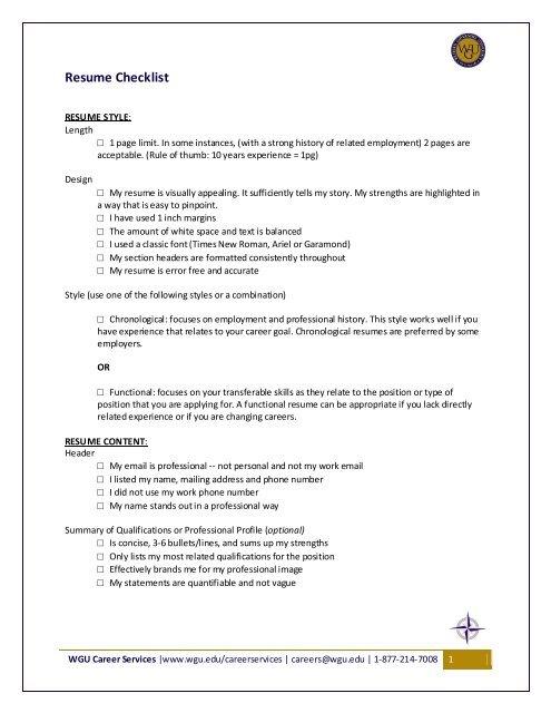 Resume Checklist - WGU Alumni Community