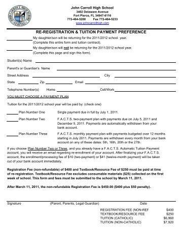Re-registration - John Carroll Catholic High School