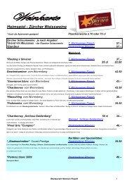 Heimspiel - Zürcher Weissweine - Restaurant Sternen Flaach