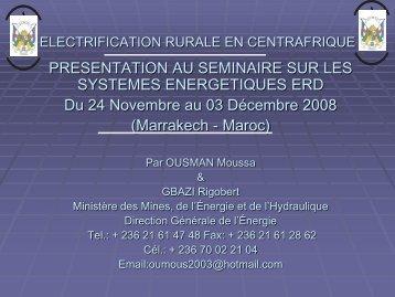 ELECTRIFICATION RURALE EN CENTRAFRIQUE - RIAED