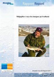 Miljøgifter i Svalbardrøye - Sysselmannen