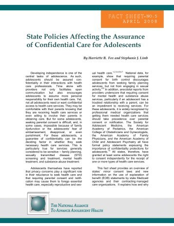 State Policies Affecting the Assurance of Confidential Care for ...