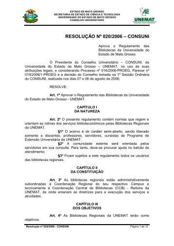 Resolução 020-2006 - Consuni - Regulamento Biblioteca - UNEMAT