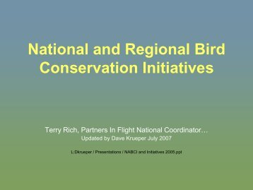 National and Regional Bird Conservation Initiatives